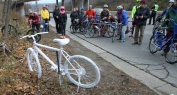 'Ghost bike' march calls for safer streets after cyclist killed